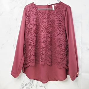 NY Collection Maroon Crew Neck Lace Blouse
